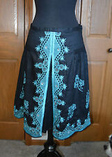 VTG Women's Flamenco Skirt ANNE CARSON Embroidered Skirt SZ 8 100% Ramie BLACK/T