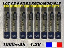 8 piles rechargeables AAA BTY Ni-MH 1000 mAh LR03 envoyées de France lot 8 piles