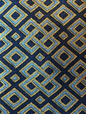 Authentic Hermes Tie 100% Silk 7656 TA Blue & Gold Geometric
