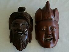 """Vintage Chinese Carved Wood Mask Happy Face Statues /Mask, 6"""" Long"""