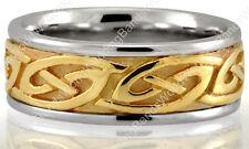 10K Two Tone Gold Interlocking Celtic Knot Men's Wedding Band Ring 7.5mm Wide