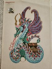 """Needlepoint Painted Canvas - Dragon/Serpent/Treasures (with baubles) - 8""""x 13"""""""