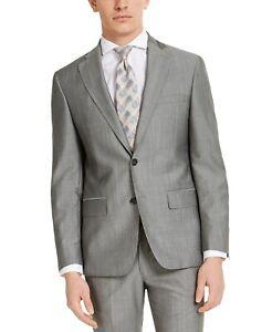 $525 DKNY Men's Slim-Fit Stretch Italian Wool/Mohair Suit Jacket -Gray- 38R