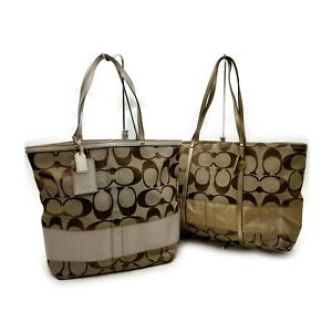 Coach Tote Bag 2 pieces set Browns Canvas 1136037