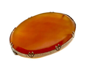 Antique Rose Gold Plated Claw Set Carved Carnelian Agate Stone Brooch GIFT BOXED