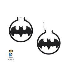 "BATMAN Marvel Matte Black Fashion 1.5"" Hoop Earrings Pair NEW BATMERSH02K"