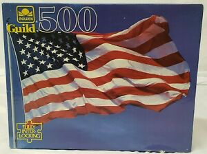 Rare 500 Piece American Flag 500 Piece Puzzle 1990s Brand New Sealed Golden 🇺🇸