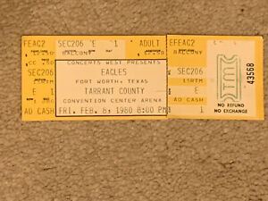 Eagles Friday 2/8/1980 FULL Concert Ticket Tarrant County Convention CenterArena