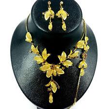 Flower Gold Rhinestone with Mesh Leaf Necklace,Bracelet & Earring set Wedding