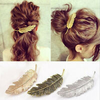 Retro Women Gold/Silver Leaf Feather Hair Clip Clamp Hairpin Barrette Bobby Pins