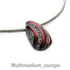 Anhänger Silber Emaille Markasit en rot red enamel silver pendant marcasite s