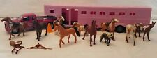 Pink Dually Pickup Truck with Horse Trailer, with Horses
