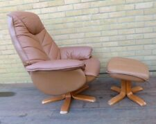 Leather swivel recliner brown leather chair and footstool - Collect In Devon