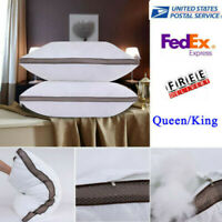 Set of 2 Down and Polyester Pillow Queen Size Premium Bed Pillows Sleep Home USA