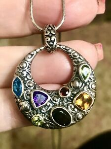 """Heart Pendant With Chain Onyx Mop And Amethyst Stone 925 Italy  24"""""""
