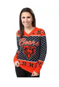 NFL Team Apparel women's XL orange black Chicago Bears V neck sweater
