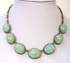 "STUNNING VINTAGE ESTATE GREEN TONE CONFETTI THERMOSET 16 7/8"" NECKLACE!!! 6667J"