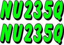 Boat Rego 200mm 2 Colour Registration Sticker Decal Set of 2