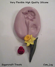 Daffodil Flower & Ladybird Silicone Mould,Sugarcraft, Cup Cake Card Topper, Fimo