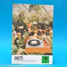 Solid 223 Plattenspieler DDR 1974 | Prospekt Werbung Werbeblatt DEWAG P44 D