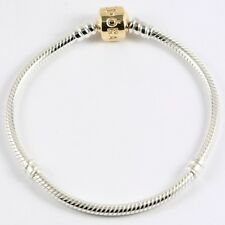 AUTHENTIC PANDORA 14K GOLD AND STERLING SILVER BRACELET 7.5 IN 19 CM