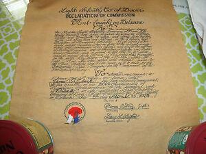 Declaration of Commission- Light Infantry Co of Dover Delaware 1975 14 x 15 1/2