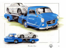 MERCEDES BENZ BLUE WONDER TEAM TRANSPORTER & 300 SLR SL NEW PAINTING PRINT ART