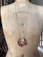 ALEXIS BITTAR Horseshoe Lucite Goldtone LONG Necklace, ORANGE FLAME BLACK CREAM