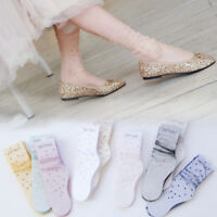 Women's Breathable Sheer Mesh Rhinestone Stockings Transparent Silk Ankle Socks