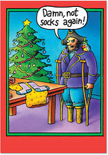 B5709 Box Set of 12 Peg Leg Socks Hilarious Christmas Greeting Cards /Envelopes