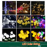 Crystal LED Solar String Ball Lights Outdoor Warm White Waterproof Garden Decor
