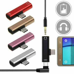 2 IN 1 USB-C Typ C bis 3,5 mm Audio AUX-Buchse Kopfhöreradapter mit Ladegerät