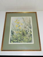 N Taylor Stonington Framed Matted Flower Lithograph Signed Print Buttercups