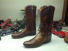 SAN ANTONIO LUCCHESE DISTRESSED MADE IN USA VINTAGE BROWN LEATHER BOOTS 10 A
