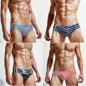 Sexy Men's Low-rise Swim Briefs Stripes Stars Printed Beach Bikini Swimwear Suit
