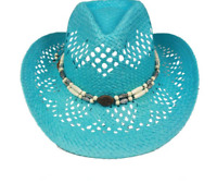Turquoise Blue Teal Paper Straw COWBOY HAT WOMEN WESTERN Cowgirl Turqoise