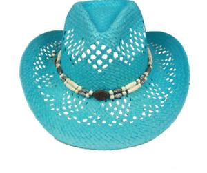 Turquoise Blue Teal Paper Straw COWBOY HAT WOMEN WESTERN Cowgirl Gardening Beach