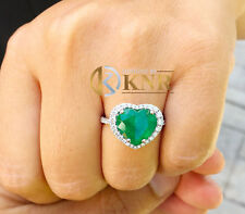 14K WHITE GOLD HEART EMERALD AND ROUND CUT DIAMOND ENGAGEMENT RING HALO 4.00CT