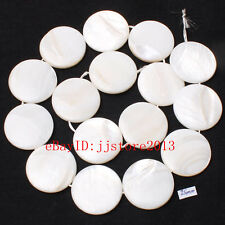 """25mm Pretty Natural White Shell MOP Coin Shape Gemstone Loose Beads Strand 15"""""""