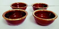 "Vintage Hull Pottery Brown Drip 5 1/4"" fruit Bowls Oven Proof Set Of 4 USA"