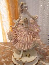 Beautiful German Dresden Volkstedt Porcelain Lace Figurine Dancer
