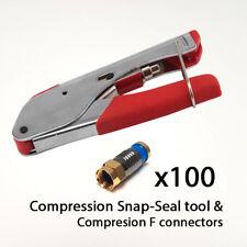 Snap-sello arrugador RG6 WF100 RG59 Cable Coaxial Compresión F Conector Plug x100