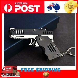 Rubber Band Gun Mini Metal Folding 6-Shot With Keychain & Rubber Band 300pc