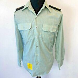 Vintage 1981 Army Uniform Shirt Green size 15.5 Long Sleeve w Sergeant Boards S6