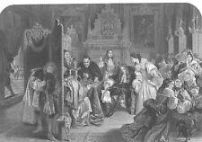 Whitehall Palace KING JAMES II HIDES BEHIND Throne, Old 1867 Art Print Engraving