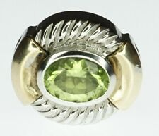 NEW 14K Yellow Gold Sterling Silver Goldman Kolber Slide Charm Bracelet Peridot