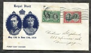 p1495 - Royal Visit 1939 FDC Cachet Cover. Non First Day Cancellation ✉