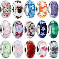Flower S925 Silver Murano Glass Bead Charm For European Bracelet Snake Chain