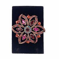 Bronze Flower Pink Blue Aurora Borealis Rhinestone Jeweled Brooch Pin Glam