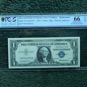 $1 1957 Silver Cert., PCGS 66 OPQ, Fr # 1619* (* C Block) Priest/Anderson